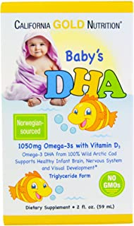 California Gold Nutrition Baby s DHA 1050 mg Omega-3s with Vitamin D3 2 fl oz 59 ml, Milk-Free, Gluten-Free, No Artificial Flavors, Peanut Free, Soy-Free, Sugar-Free, Wheat-Free, Yeast-Free, CGN
