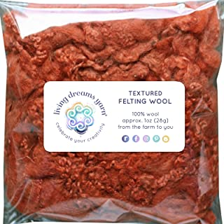 TEXTURED FELTING WOOL. Corriedale Fiber includes CURLY LOCKS for Needle Felting, Spinning, Doll Hair and Waldorf Crafts - Sienna