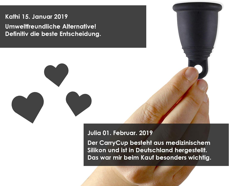 incluye bolsa de color lila sin silicona fabricada en Alemania CarrieCup sin BPA alternativa a tampones y compresas Copa menstrual grande