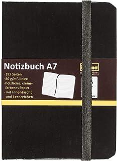 Idena 10033 - notitieboek FSC-Mix, A7, gelinieerd, papier crèmekleurig, 96 vellen, 80 g/m2, hardcover in zwart, 1 stuk