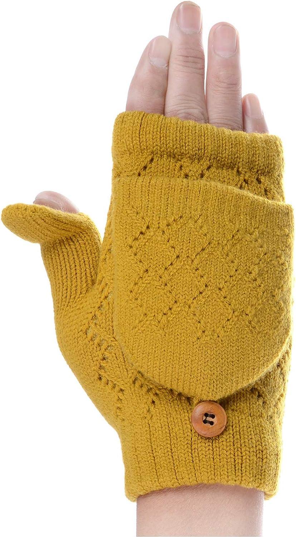 BYOS Women's Winter Cozy Fleece Lined Convertible Fingerless Knit Mittens Gloves