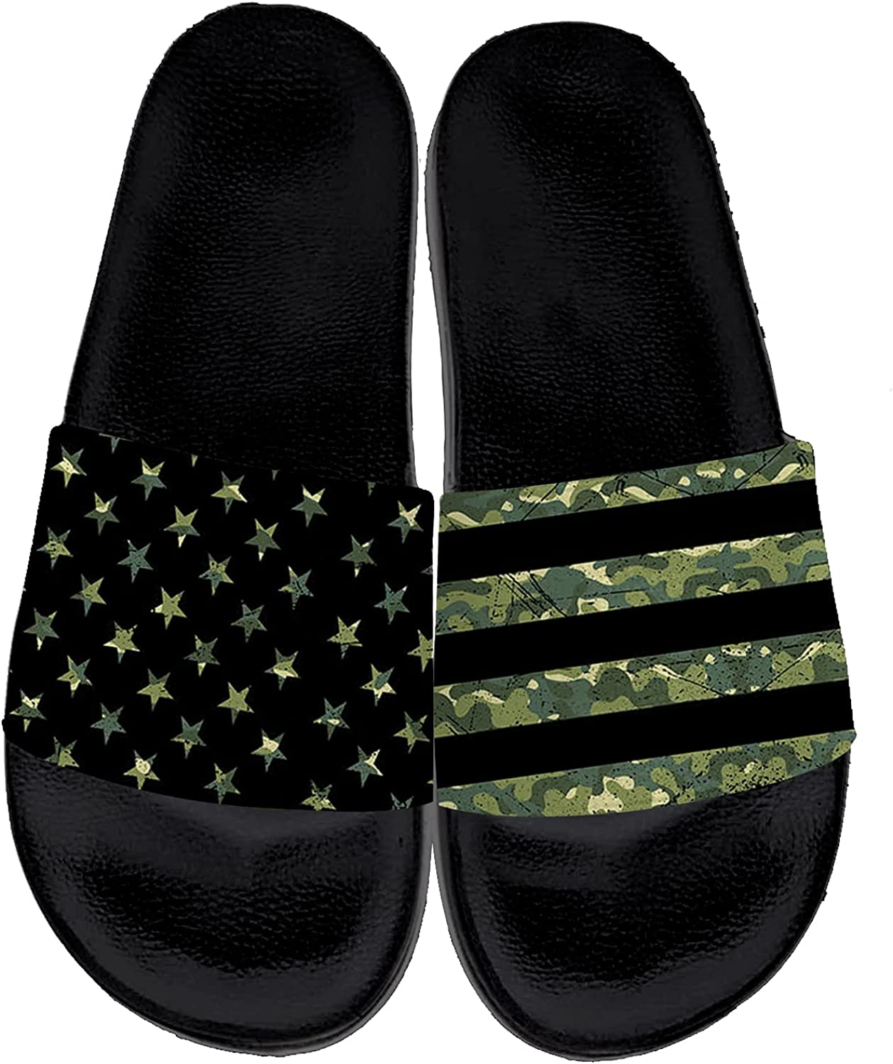 Military Camo Flag Sandals for Men Women Personalited Camouflage Flag Slippers Casual Soft Non Slip Slides Indoor Outdoor Gifts for 4th of July