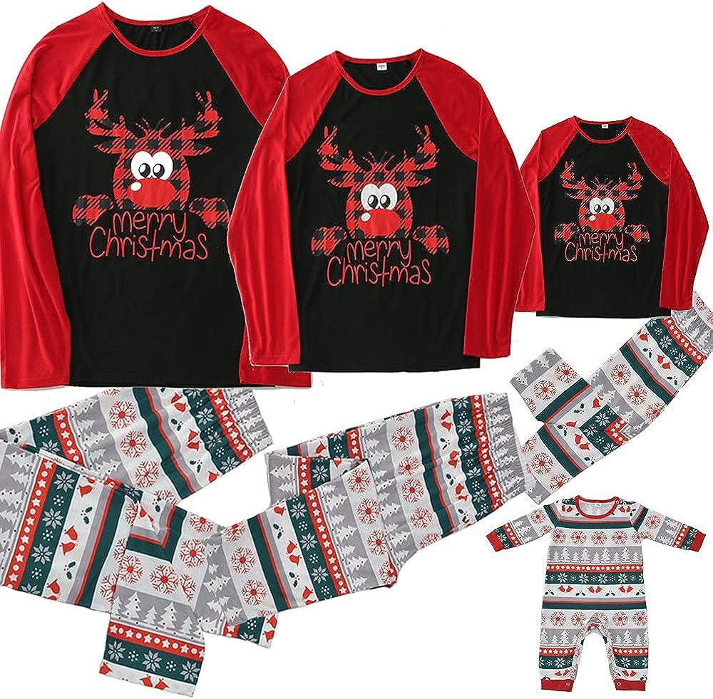 Matching Family Christmas Pajamas Plaid Xmas Deer Printed Holiday Sleepwear Set Pjs