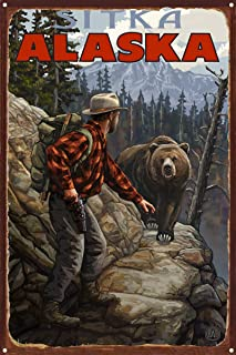 Sitka Alaska Grizzly On Trail Rustic Metal Art Print by Paul A. Lanquist (12