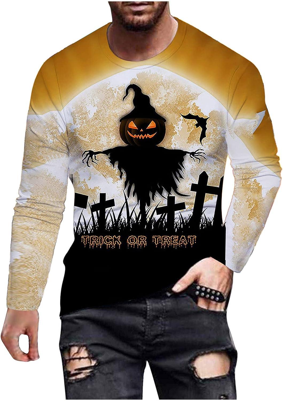 HONGJ Halloween Soldier Long Sleeve T-shirts for Mens, Fall Funny Pumpkin Black Cat Bat Print Casual Athletic Tee Tops
