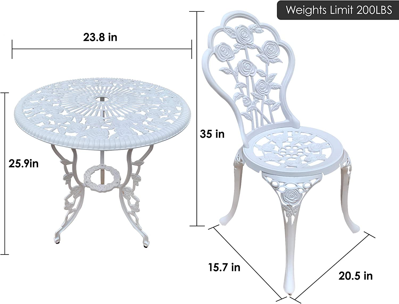 3 Piece Outdoor Patio Set Rust-Resistant Cast Aluminum Rose Design Outdoor Table and Chairs Furniture with Umbrella Hole Antique Bronze Jardin de panda Bistro Table Set