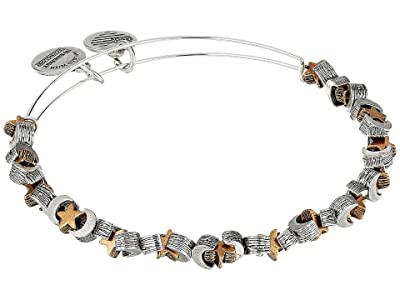 Alex and Ani Moon and Star Beaded Bangle (Rafaelian Silver) Bracelet