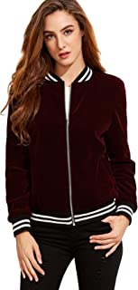 Women's Casual Zipper Short Velvet Bomber Jacket