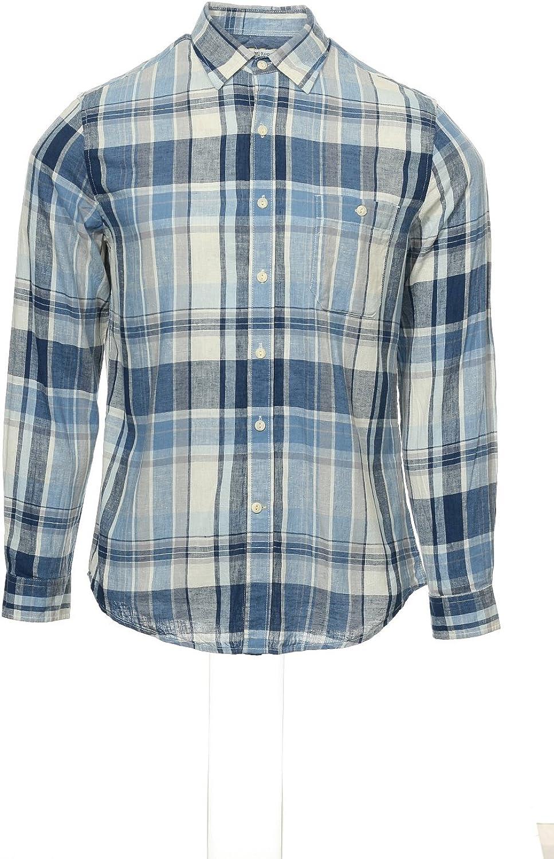 Club Room Mens Blue Plaid Button Down Shirt