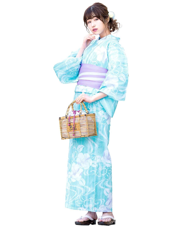 (ソウビエン)レディース浴衣セット 水色 ライトブルー 椿 ツバキ 花 流水 雨縞 綿麻 女性 花火大会