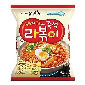 Paldo Fun & Yum Rabokki Ramen, Soupless Stir-Fried Noodles with Sweet & Spicy Seasoning Sauce, Tteokbokki Taste, Best Oriental Style Korean Ramyun, Brothless K-Food, 즉석 라볶이 145g x 4 Pack