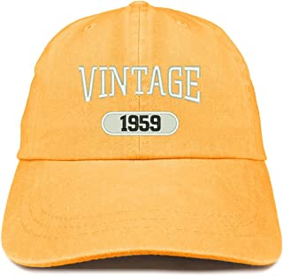 237db4b624aa6 Trendy Apparel Shop Vintage 1959 Embroidered 60th Birthday Soft Crown  Washed Cotton Cap