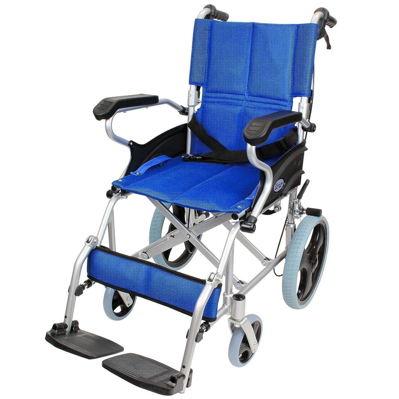たとえ密度花弁ケアテックジャパン 介助式 アルミ製 車椅子 スマイル -介助式- ブルー CA-80SU