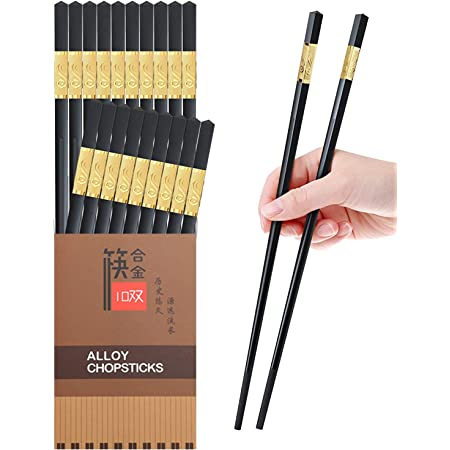 10 Pairs Reusable Chopsticks Dishwasher Safe,9.5 Inch Fiberglass Chop Sticks Multipack Metal Japanese Korean Chopsticks for food…