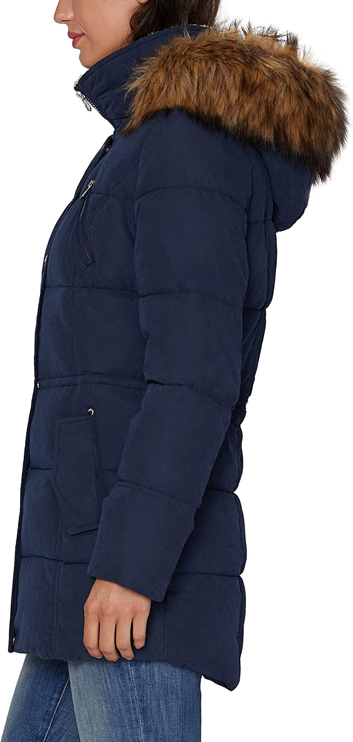 Nautica Damen Microfiber Heavy Weight Down Coat Daunenalternative, Mantel Marineblau