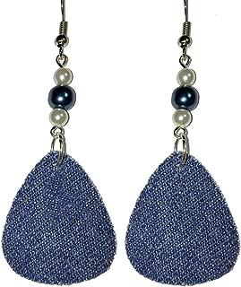 Teardrop Denim & Glass Pearl Dangle Earrings (D002)