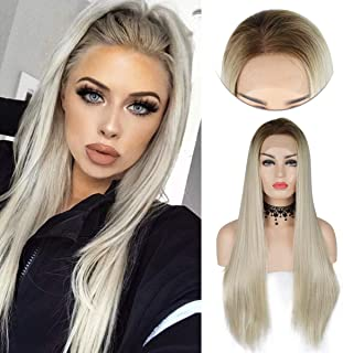 Blonde Lace Front Wigs Luckyfine Long Straight Synthetic Wig,Long Straight Synthetic Hand Tied Fiber Hair,Ombre Heat Resistant Fashion Wigs with Natural Looking Middle Parting Hairline for Women 24''