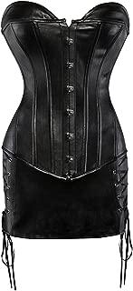 Kiwi-Rata Women's Steampunk Bustier Top Dress Lace Up Front Zipper Back Gothic Corset Plus Size