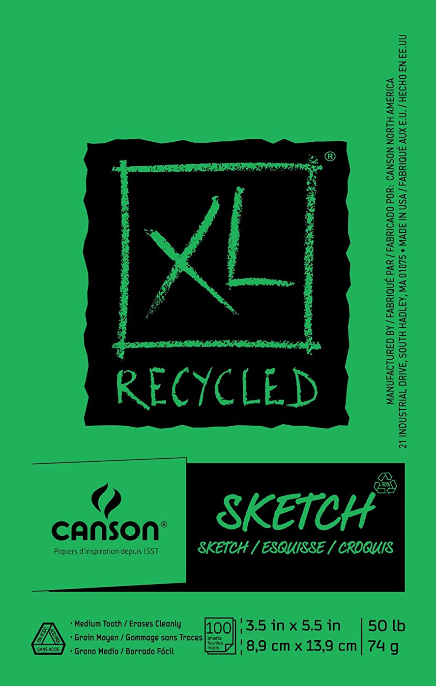 Canson XL Series Recycled Paper Sketch Pad, Fold Over, 50 Pound, 3.5 x 5.5 Inch, 100 Sheets