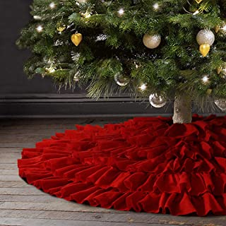 Ivenf Christmas Tree Skirt, 48 inches Large Red Fleece 6-Layer Ruffled Skirt, Rustic Xmas Tree Holiday Decorations