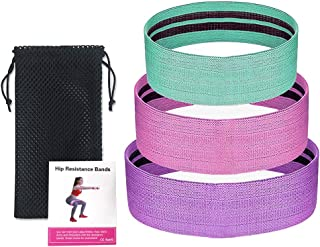 Decdeal 3PCS Sports Exercise Resistance Loop Bands Set Elastic Booty Band Set for Yoga Home Gym Training