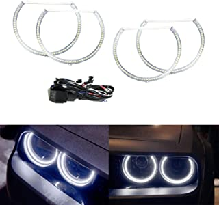iJDMTOY Complete Set 4-Ring 252-SMD LED Angel Eye Halo Rings Kit w/Relay Harness for 2008-2014 Dodge Challenger Headlight Retrofit, Xenon White