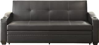 Homelegance 4838 Convertible/Adjustable Sofa Bed, Black Bi-Cast Vinyl