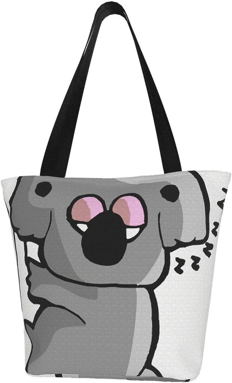 Sleeping Cute Grey Koala Cartoon Themed Printed Women Canvas Handbag Zipper Shoulder Bag Work Booksbag Tote Purse Leisure Hobo Bag For Shopping