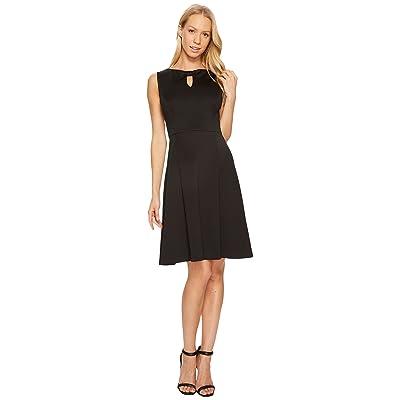 Ellen Tracy A-Line Scuba Dress with Keyhole Detail (Black) Women