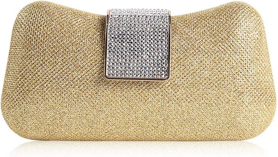 HttKse Evening Bags Ladies Rhinestone Clutch Bag Fashion Shoulder Diagonal Bag Banquet Bag (Color : Gold, Size : 21cm x 11cm)