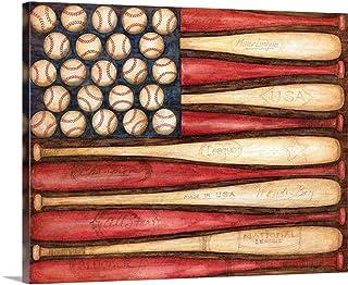 "Baseball Flag Canvas Wall Art Print, 30""x24""x1.25"""