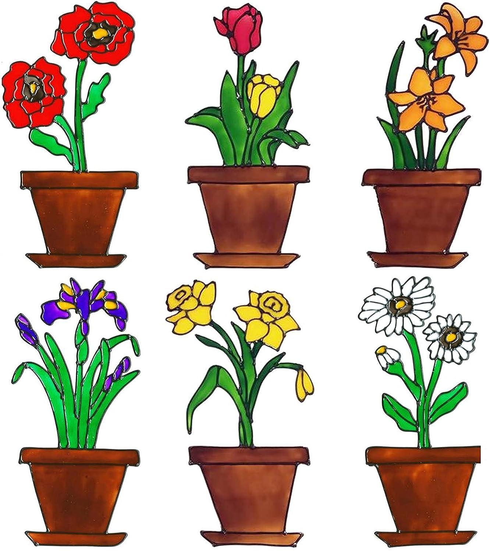 Trosetry Minneapolis Mall 6pcs Lilies Tulips Daffodils New item Clings Window Flower Ad