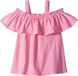 Acid Wash Knit Ruffle Top (Toddler/Little Kids)