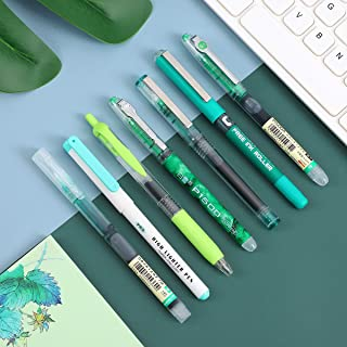 Simplicity Color Gel Pen set 0.5mm quick-drying Straight Pen Gel Ink Pen Lot Multi-function highlighter pen (green 7pcs)