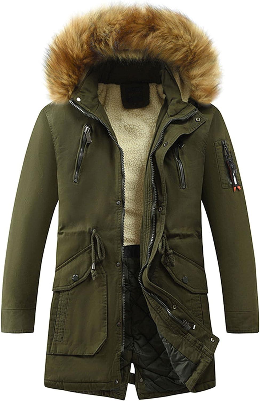Zontroldy Men's Winter Fleece Lined Parka Jacket Warm Puffer Coat with Faux Fur Hood