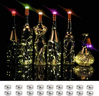 clapzovr Wine Bottle Lights Cork Color Changing,16 LED on 4.6FT Copper Wire Battery Operated Cork Fairy String Lights for DIY Party Decoration Wedding Holiday Christmas Pack of 6