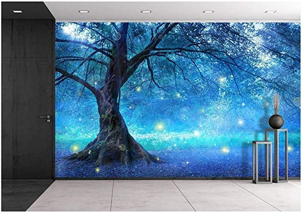 Wall26 Fairy Tree In Mystic Forest Removable Wall Mural Self Adhesive Large Wallpaper 66x96 Inches