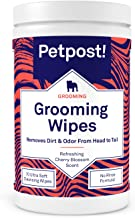 Petpost | Grooming Wipes for Dogs - Large, Deodorizing Wipes with Cherry Blossom Scent - 70 Ultra Soft Cotton Pads in Cleansing Solution