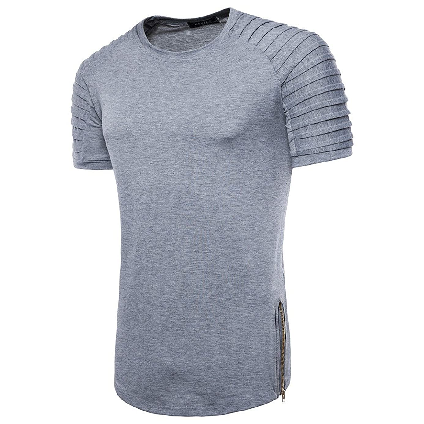 MILIMIEYIK Blouse Fashion Personality Men's Casual Slim Short Sleeve Striped T Shirt Top Blouse Humorous Gym Mexican Food