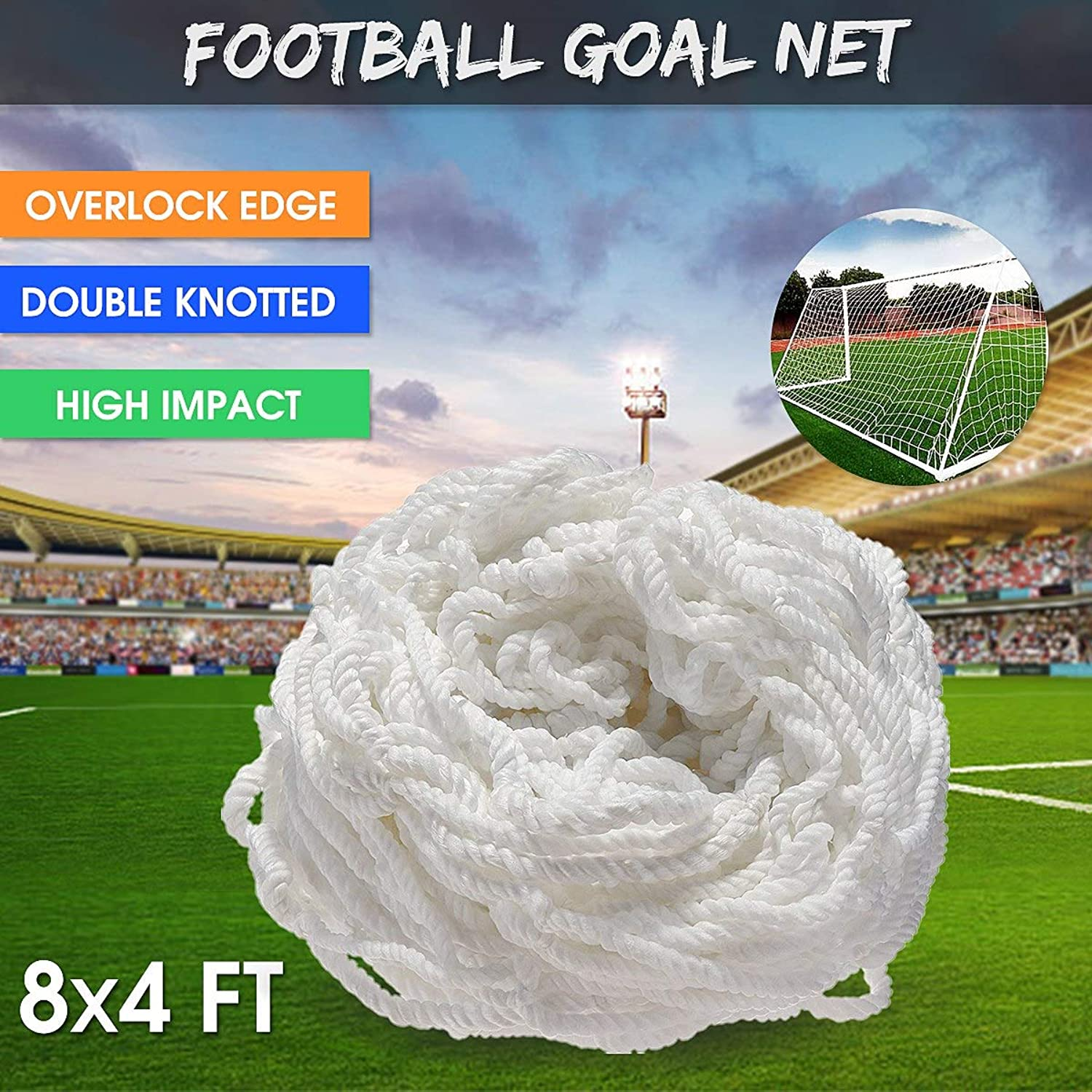 8x4FT Full Size White Football Soccer Goal Post Net for Outdoor Sports Training Match Polypropylene Flexible Double Knotted