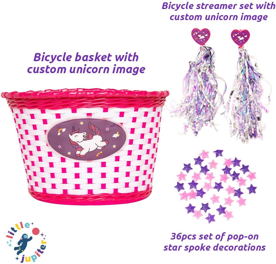 Streamers Little Jupiter Unicorn Bike Basket /& 36pc Star Spoke Decoration Set for Girls