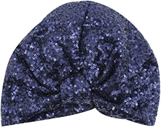 Women's Girls Glitter Sequin Pleated Turban Stretchy Chemo Sleep Hat Soft Indian Headwear Cap