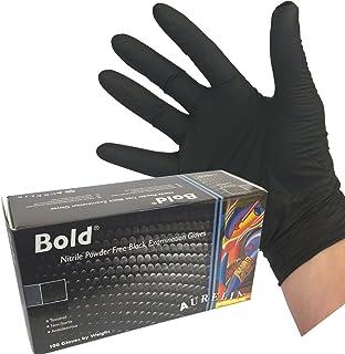 Aurelia Bold Nitrile Powder Free Examination Gloves - Box of 100 Gloves, Black, Extra Large