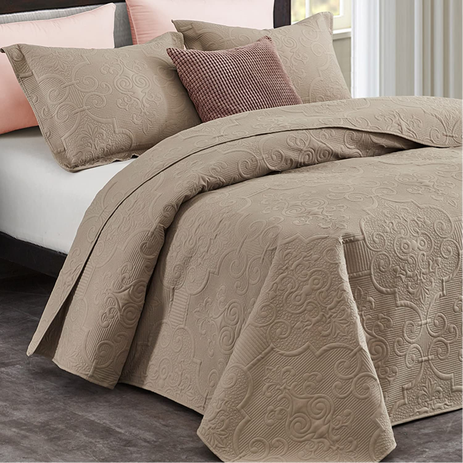 CHIXIN Department store Quilt Set King Size Lightweight Sacramento Mall Taupe Bedspread Quilted