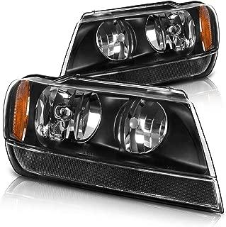 Headlight Assembly for 1999 2000 2001 2002 2003 2004 Jeep Grand Cherokee,OE Black Housing Headlamp