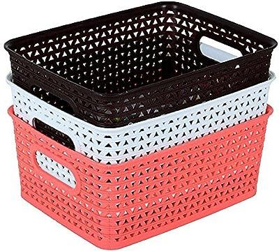 NAOE Plastic Storage baskets for Kitchen, Office, Bedroom, Bath Room (Random Color, 20 x26 x11 cm) - Set of 3