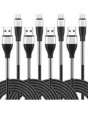 ライトニングケーブル 長い 「2m×4本」 iPhone充電 2m 高耐久 スプリング保護 根元強化 急速充電&データ転送 柔軟性 iPhone XS/XS Max/XR/X/8/8Plus/7/7 Plus/6/6 Plus/6s/6s Plus/5/SE/5s,iPad iPad Air 2/Air/mini 4/mini 3/mini 2,iPod nano/touch(第5、6世代)対応 (2m×4本 黒)
