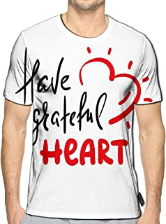 3D Printed T Shirts Have Grateful Heart Casual Mens Hipster Top Tees
