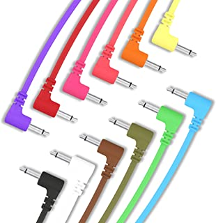 """ExcelValley - 12 Pack - Cables de Conexión Mono Modulares de Ángulo Recto - 3,5mm 1/8"""" Eurorack Sintetizador - 90 cm - 35.43"""""""