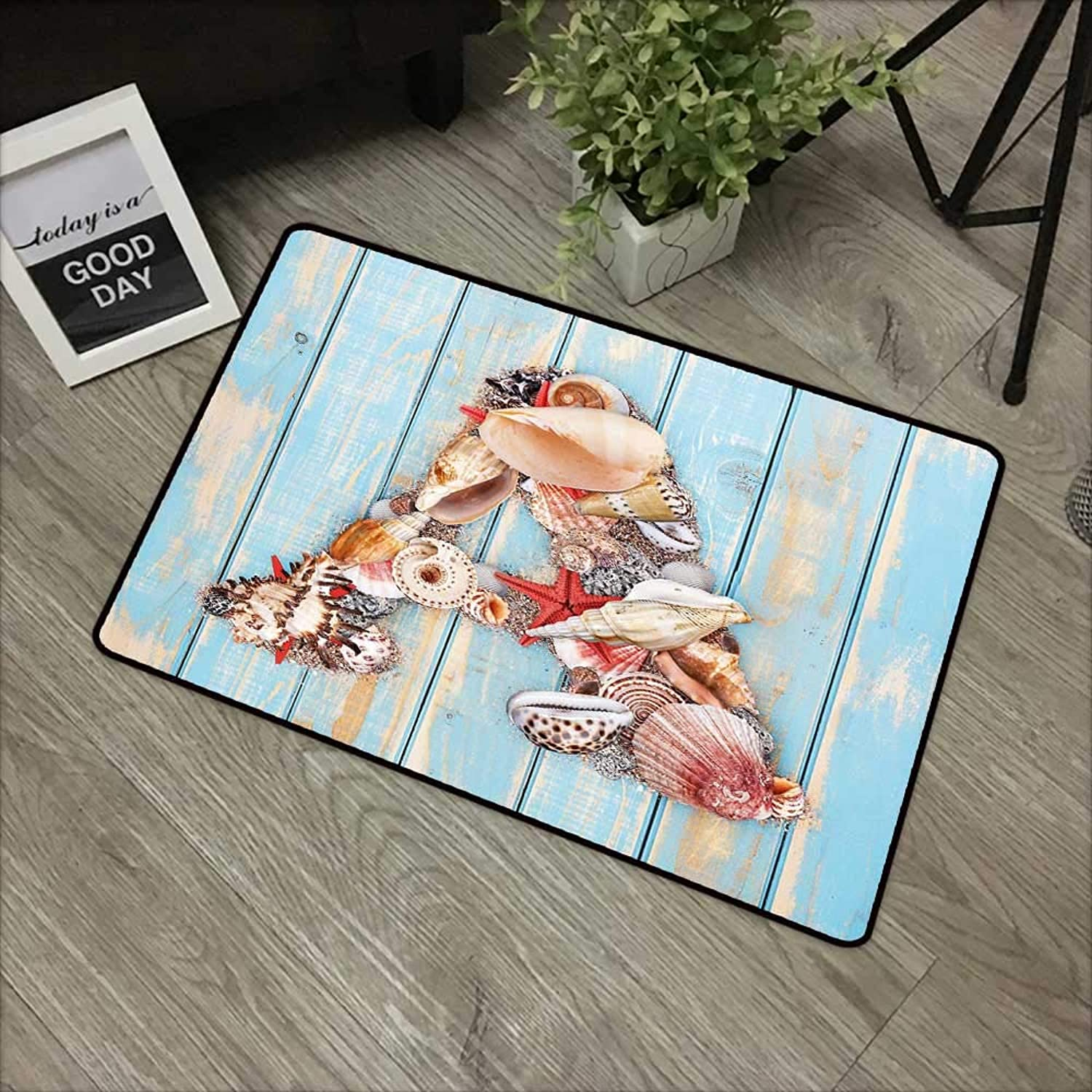 Bathroom Door mat W35 x L59 INCH Letter A,Letter A with Seashells on Pale Wooden Board Ingreenebrates Animal,Pale bluee Ivory Dark Coral with Non-Slip Backing Door Mat Carpet